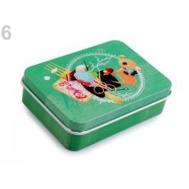 Plechová krabička na šitie zelená pastelová 1ks Stoklasa