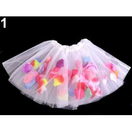 Karnevalová sukienka s kvetnými lístkami biela 1ks Stoklasa