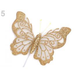 Motýľ na drôtiku s glitrami zlatá 6ks Stoklasa