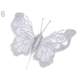 Motýľ na drôtiku s glitrami strieborná 6ks Stoklasa