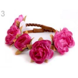 Pružná čelenka do vlasov s kvetmi ružová ostrá 1ks Stoklasa