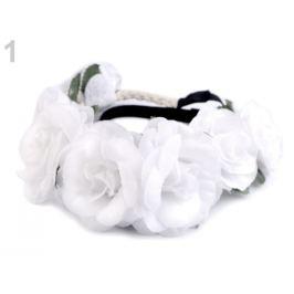 Pružná čelenka do vlasov z kvetmi biela 1ks Stoklasa