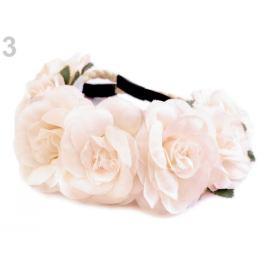 Pružná čelenka do vlasov z kvetmi ružová hmlovo 1ks Stoklasa