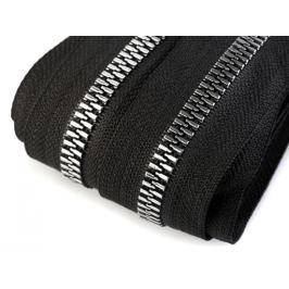 Zips kostený so striebornými zúbkami šírka 8 mm metráž čierna 1m Stoklasa
