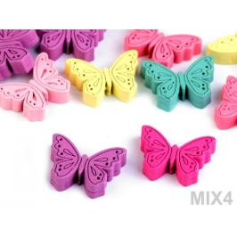 Drevené koráliky medvedík, srdce, motýľ mix farieb 10ks Stoklasa