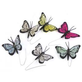 Motýľ na drôtiku mix farieb 6ks Stoklasa