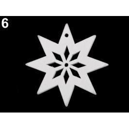 Drevené dekorácie vianočná vločka, hviezda, stromček, zvonček, koník, sob na zavesenie / na nalepenie biela 6ks Stoklasa