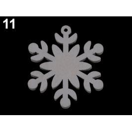 Drevené dekorácie vianočná vločka, hviezda, stromček, zvonček, koník, sob na zavesenie / na nalepenie šedokrémová 6ks Stoklasa