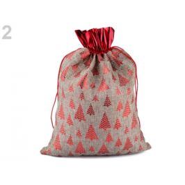Darčekové vianočné / mikulášske vrecko 30x40 cm imitace juty režná príodná 1ks Stoklasa