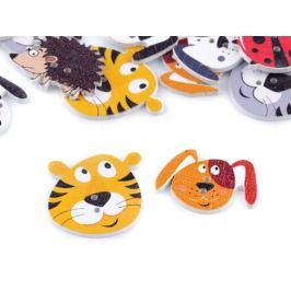 Drevený dekoračný gombík zvieratká - pes, ježko, lienka, tyger Stoklasa
