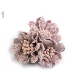 Vlnené kvety s piestikmi vo farbe kvetu Ø35 mm staroružová 2ks Stoklasa