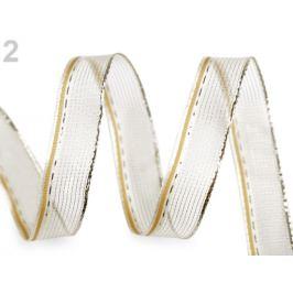 Stuha s lurexom a drôtom šírka 15 mm zlatá svetlá 25m