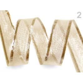 Stuha s lurexom a drôtom šírka 25 mm zlatá svetlá 25m