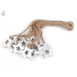 Drevená hviezda, anjel, húpací koník s motúzikom biela 12ks