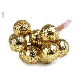 Vianočné dekoračné guľky s glitrami a drôtikom Ø12 mm zlatá 10ks