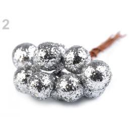 Vianočné dekoračné guľky s glitrami a drôtikom Ø12 mm strieborná 10ks