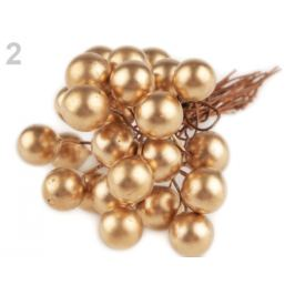 Vianočné dekoračné guličky s drôtikom Ø10 mm zlatá 48ks