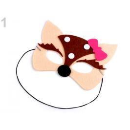Detská karnevalová maska - škraboška filcová zvieratká hnedá 1ks Stoklasa