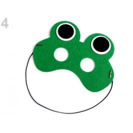 Detská karnevalová maska - škraboška filcová zvieratká zelená pastelová 1ks Stoklasa