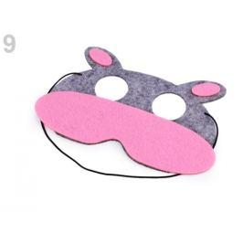 Detská karnevalová maska - škraboška filcová zvieratká šedá 1ks Stoklasa