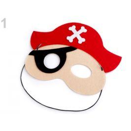 Detská karnevalová maska - škraboška pirát červená 1ks Stoklasa