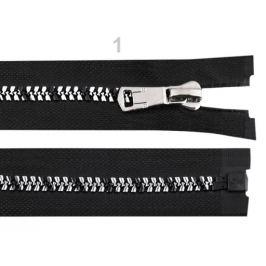 Zips kostený so strieborno-čiernymi zúbkami šírka 8 mm  dĺžka 50 cm čierna 1ks Stoklasa