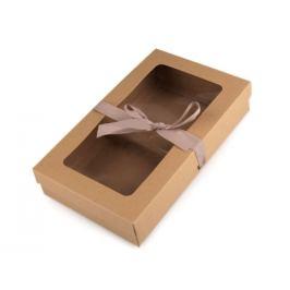Papierová krabička s priehľadom a stuhou hnedá prírodná 5ks Stoklasa