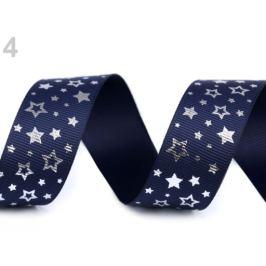 Rypsová stuha hviezdy šírka 25 mm modrá tmavá 5m Stoklasa