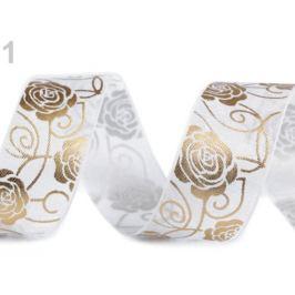 Svadobná monofilová stuha ruža šírka 27 mm biela 3m Stoklasa