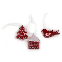 Vianočné dekorácie - stromček, domček, vtáčik červená tm. 1sada