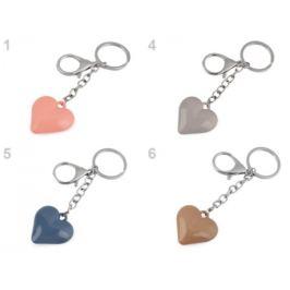 Prívesok na kabelku / kľúče srdce modrá jeans 1ks Stoklasa