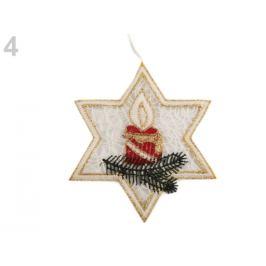 Vianočná čipková dekorácia červená 1ks Stoklasa