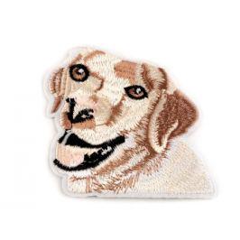 Nažehlovačka pes, celovyšívaná béžová sv. 1ks Stoklasa