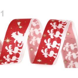 Vianočná taftová stuha Santa so sobmi šírka 25 mm červená  20m