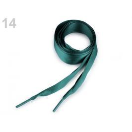 Saténové šnúrky do topánok, tenisiek a mikin dĺžka 110 cm zelená tm. 2ks Stoklasa