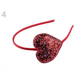 Čelenka do vlasov glitrová so srdcom červená 1ks Stoklasa