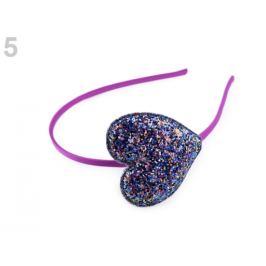 Čelenka do vlasov glitrová so srdcom fialová 1ks Stoklasa