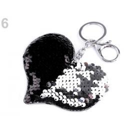 Prívesok na kabelku / kľúče srdce s meniacimi flitrami čierna 1ks Stoklasa