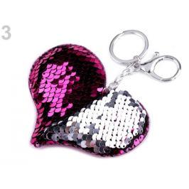 Prívesok na kabelku / kľúče srdce s meniacimi flitrami ružovofialová 1ks Stoklasa