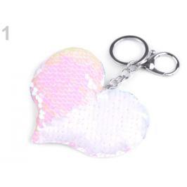 Prívesok na kabelku / kľúče srdce s meniacimi flitrami biela 1ks Stoklasa