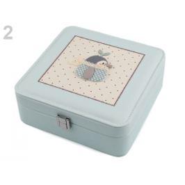 Šperkovnica s 3D vtáčikom 7x18x18 cm tyrkys najsv. 1ks Stoklasa
