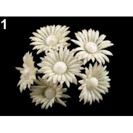 Kvet na drôtiku s glitrami krémová sv. 6ks Stoklasa