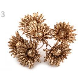 Kvet na drôtiku s glitrami medená 6ks Stoklasa