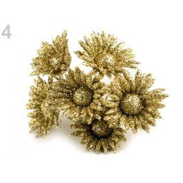 Kvet na drôtiku s glitrami zlatá 6ks Stoklasa