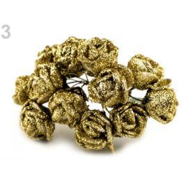 Ruže na drôtiku s glitrami zlatá 12ks Stoklasa