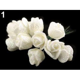 Ruže na drôtiku s glitrami biela 12ks Stoklasa