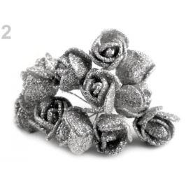 Ruže na drôtiku s glitrami strieborná 12ks Stoklasa