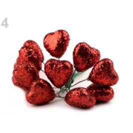 Srdce na drôtiku s glitrami Ø19 mm červená 12ks Stoklasa