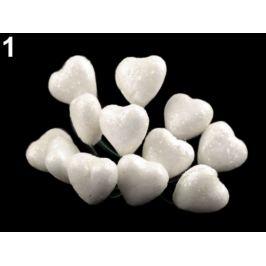 Srdce na drôtiku s glitrami Ø19 mm biela 12ks Stoklasa