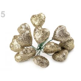 Srdce na drôtiku s glitrami Ø19 mm zlatá svetlá 12ks Stoklasa